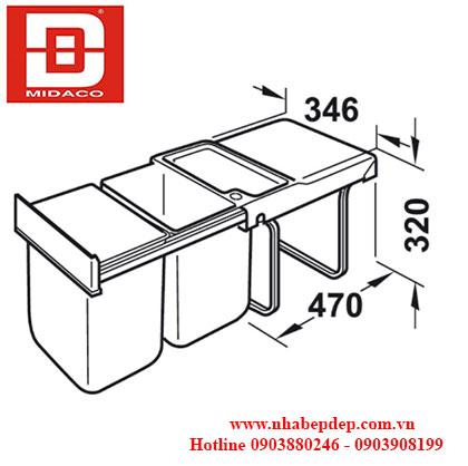 Thùng rác đôi Hafele Hailo 3640-00 1