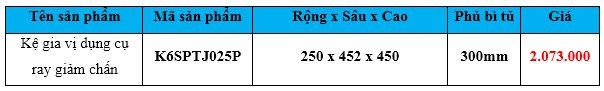 Kệ gia vị dụng cụ ray giảm chấn k6sptj025p
