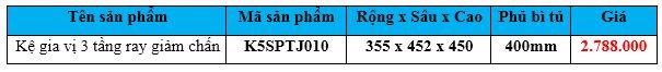 kệ gia vị 3 tầng ray giảm chấn k5sptj010