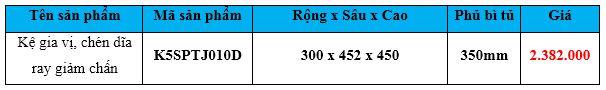 kệ gia vị chén dĩa ray giảm chấn k5sptj010d
