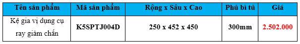 kệ gia vị dụng cụ ray giảm chấn k5sptj004d