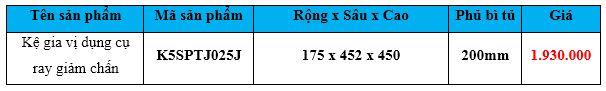 kệ gia vị dụng cụ ray giảm chấn k5sptj025j