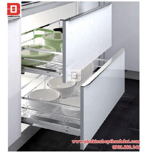 Rổ chén dĩa diamond giảm chấn cao cấp cho tủ bếp hiện đại