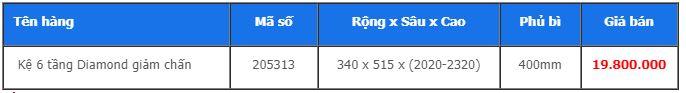 Kệ 6 tầng Diamond giảm chấn 205313