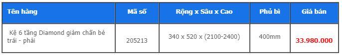 Kệ 6 tầng Diamond giảm chấn bẻ trái – phải 205213