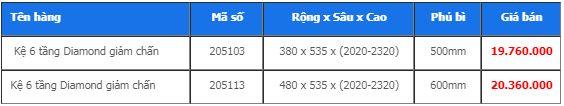 Kệ 6 tầng Diamond giảm chấn 205103, 205113