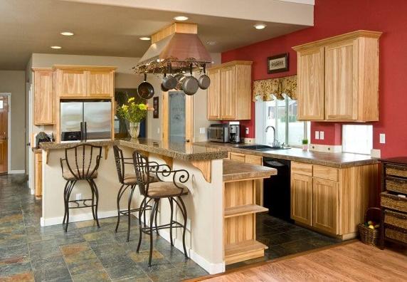 Mẫu tủ bếp gỗ tự nhiên thiết kế sáng trọng và đẳng cấp