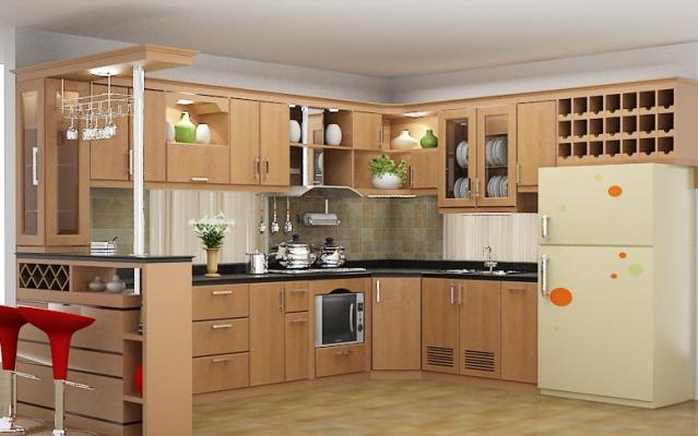 Mẫu tủ bếp gỗ tự nhiên thiết kế tinh tế