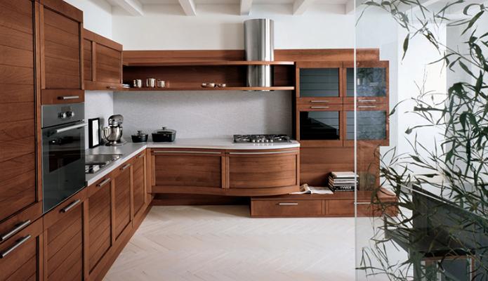 Mẫu tủ bếp gỗ tự nhiên chữ L tiện lợi và sang trọng