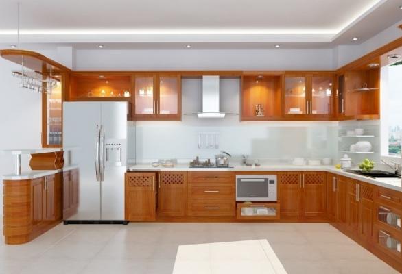 Mẫutủ bếp gỗ xoan đào thiết kế sang trọng
